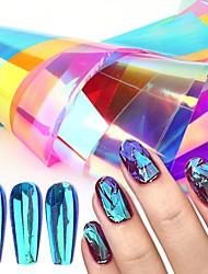 cheap -16 Pcs Aurora Glass Nails Foil Ice Cube Cellophane For Nails Broken Design Transfer Paper Summer Nail Art Decor Tools