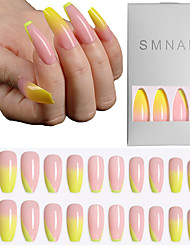 cheap -24pcs Acrylic Fake Matte Nail Pure Color Manicure False Nails Full Cover For Short Decoration Press On Nails Art Fake Extension
