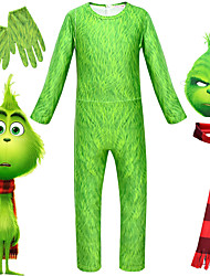 cheap -Santa Suit The Grinch Zentai Suits Adults' Men's Outfits Christmas Party Masquerade Halloween Carnival Masquerade Festival / Holiday Terylene Green Men's Women's Easy Carnival Costumes Print / Gloves