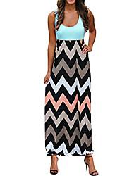 cheap -Women's A Line Dress Maxi long Dress Big red Blushing Pink Gray Green Sky Blue White Black Dark Blue Sleeveless Pattern Spring & Summer Casual 2021 S M L 2XL 3XL