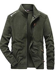 cheap -Men's Jacket Street Daily Going out Fall Winter Regular Coat Regular Fit Warm Breathable Casual Jacket Long Sleeve Solid Color Full Zip Pocket Dark Grey Army Green Black
