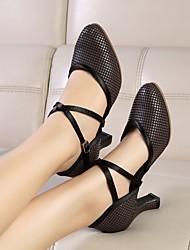cheap -Women's Modern Shoes Ballroom Shoes Heel Thick Heel Black Black-white Buckle Cross Strap / Performance