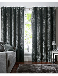 cheap -Window Curtain Window Treatments Green 2 Panels Room Darkening Velvet Grommet Solid color for Living Room Bedroom Thermal Insulated