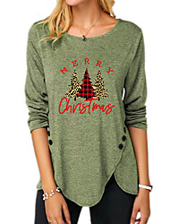 cheap -Women's Christmas Abstract Painting T shirt Plaid Graphic Text Long Sleeve Button Print Round Neck Basic Christmas Tops Regular Fit Blue Purple Khaki