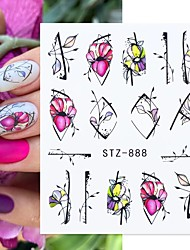 cheap -12pcs Flower Nail Stickers Purple Blue Water Decals for Nails Flower Line Spring Manicure Decor Nail Slider Wraps