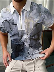 cheap -Men's Golf Shirt Rendering Zipper Print Short Sleeve Street Tops Sportswear Casual Fashion Breathable Gray