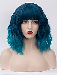 cheap -halloweencostumes Short Bob Wavy Curly Wig Ombre Blue Air Bangs Wig for Women Cosplay Halloween Wigs Heat Resistant Bob Party Wig (Ombre Blue)