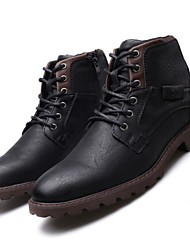 cheap -Men's Boots Casual Vintage Classic Daily Outdoor Synthetics Booties / Ankle Boots Black Brown Color Block Fall Winter