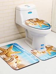 cheap -Sea Shell Beach Board Pattern Anti-Slip Floor Mat for Toilet In Front Of Bathroom Door Three-Piece Suit