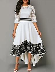 cheap -Women's Party Dress Maxi long Dress White 3/4 Length Sleeve Print Solid Color Lace Plus High Low Fall Winter Round Neck Work Elegant Formal Regular Fit 2021 S M L XL XXL 3XL