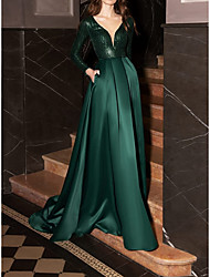cheap -A-Line Glittering Elegant Wedding Guest Formal Evening Dress V Neck Long Sleeve Court Train Satin Sequined with Pleats Sequin 2021