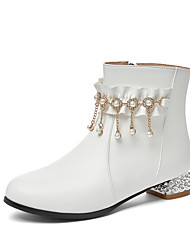 cheap -Girls' Boots Casual Boots Heel PU Cute Casual / Daily Fashion Boots Big Kids(7years +) Daily Pearl Ruffles Pink White Black Fall Winter / Mid-Calf Boots / Rubber