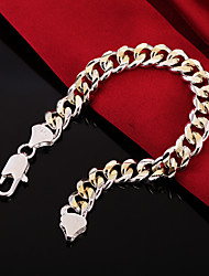 cheap -Men's Chain Bracelet Bracelet Wide Bangle Cut Out Precious Fashion Copper Bracelet Jewelry Silver For Christmas Party Wedding Street Daily / Silver Plated / Gold Plated