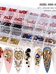 cheap -Mix Size Crystal AB Glass Rhinestones For Nails Non Hot Fix 3D Flatback Diamond Strass Gems Glitter Jewelry Nail Art Decorations