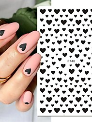 cheap -6Pcs 3D Nail Sticker Black Heart Love Self-Adhesive Slider Letters Nail Art Decorations Stars Decals Manicure Accessories