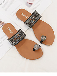 cheap -Women's Sandals Flats Flat Heel Daily PU Solid Colored Almond Black