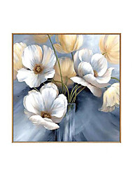 cheap -Oil Painting Handmade Hand Painted Wall Art Square Modern Abstract White Floral / Botanical Home Decoration Decor Rolled Canvas No Frame Unstretched