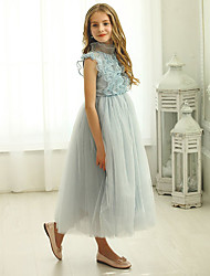 cheap -Princess Ankle Length Flower Girl Dresses Party Polyester Cap Sleeve Jewel Neck with Beading