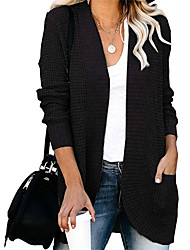cheap -Women's Cardigan Pocket Knitted Solid Color Basic Casual Chunky Long Sleeve Loose Sweater Cardigans Open Front Fall Winter Gray khaki Green / Holiday / Work