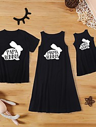 cheap -Family Sets Family Look Cotton Bunny Letter Daily Print Black Sleeveless Knee-length Tank Dress Basic Matching Outfits / Summer / Long / Cute