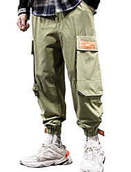 cheap -men's tapered ankle banded jogger cargo pants with big pockets army green