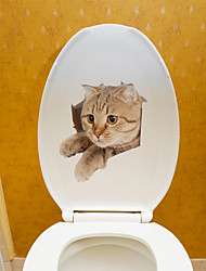 cheap -Cute Cat Cartoon Wall Stickers Toilet Stickers Kids Room Kindergarten Toilet Removable Pre-pasted PVC Home Decoration Wall Decal 1pc