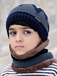 cheap -Kids Winter Knit Beanie Hats with Scarves, Slouchy Skull Cap Warm Earflaps Hat Ski Cap for Girls Boys camping hiking skiing