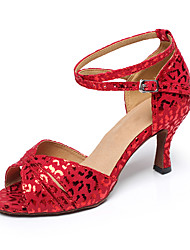 cheap -Women's Latin Shoes Jazz Shoes Heel Leopard Glitter Slim High Heel Red White Buckle Sparkling Shoes / Performance / Practice