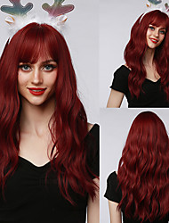 cheap -HAIR CUBE Synthetic Wig Long Natural Wavy Wine Red with Bangs for Women Cosplay Party Club Daily Wig Heat Resistant Fiber