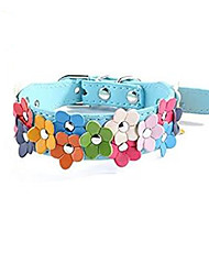 cheap -Dog Cat Pets Collar Adjustable PU Leather Small Dog Blue 1pc