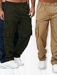 cheap -Men's Cargo Chino Outdoor Sports Straight Pants Tactical Cargo Trousers Casual Sports Pants Solid Color Full Length Elastic Waist ArmyGreen Khaki Black Navy Blue