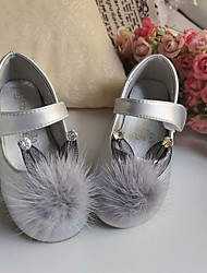 cheap -Girls' Flats Flower Girl Shoes Microfiber Wedding Casual / Daily Dress Shoes Toddler(9m-4ys) Little Kids(4-7ys) Wedding Party Party & Evening Pom-pom Pink Silver Ivory Fall Winter