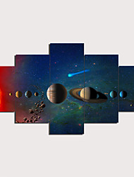 cheap -5 Panels Wall Art Canvas Prints Painting Artwork Picture Solar System Painting Home Decoration Decor Rolled Canvas No Frame Unframed Unstretched