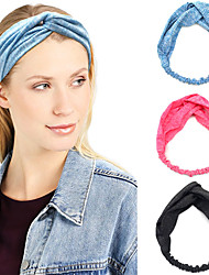 cheap -3 Pcs/set Wide-brimmed Hair Accessories Ladies Cross Headband Sports Yoga Headband Elastic Headband Solid Color Headband