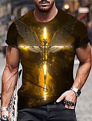 cheap -Men's Unisex Tee T shirt Shirt 3D Print Graphic Prints Skull Wings Print Short Sleeve Daily Regular Fit Tops Casual Designer Big and Tall Gold / Summer