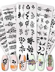 cheap -5 Pcs Nail Stamping Plate Flower Leaf Geometry Stamp Template Nail Image Plate Stencil DIY Printing Stainless Steel Tools