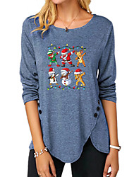 cheap -Women's Christmas Abstract Painting T shirt Graphic Long Sleeve Button Print Round Neck Basic Christmas Tops Regular Fit Blue Purple Khaki