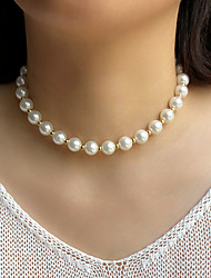 cheap -Necklace Women's Beads Imitation Pearl Luxury Fashion Vintage Holiday Boho White 40 cm Necklace Jewelry 1pc for Street Gift Daily Prom Festival Round