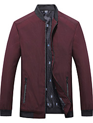 cheap -Men's Jacket Trench Coat Street Daily Going out Fall Spring Regular Coat Zipper Stand Collar Regular Fit Warm Breathable Sporty Casual Jacket Long Sleeve Plain Full Zip Pocket Blue Wine Black