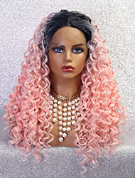cheap -Synthetic Lace Wig Deep Curly Style 24 inch Pink With Bangs 4x13 Closure Wig Women's Wig Light Brown Lace Black / Pink