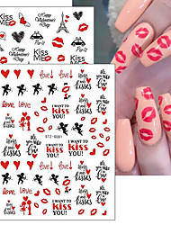 cheap -3 Pcs Romantic Valentines Day Nails Love Rose Leopard Flower Laser 3D Nail Sticker Decals Nail Design for Adhesive Wraps