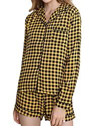 cheap -Women's Pajamas Sets Home Daily Elastic Waist Print Grid / Plaid Viscose Simple Soft Sweet Shirt Shorts Fall Spring V Wire Long Sleeve Short Pant Seamed