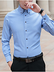 cheap -Men's Shirt Solid Color Long Sleeve Casual Tops Chinese Style Casual Blue Blushing Pink Gray