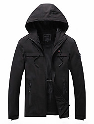 cheap -Men's Jacket Street Daily Fall Spring Short Coat Regular Fit Thermal Warm Windproof Casual Jacket Long Sleeve Solid Color Full Zip Pocket Black