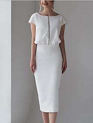 cheap -Sheath / Column Wedding Dresses Jewel Neck Tea Length Stretch Fabric Short Sleeve Simple Vintage Little White Dress 1950s with Buttons 2021