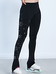 cheap -Figure Skating Pants Women's Girls' Ice Skating Pants / Trousers Bottoms Black Spandex High Elasticity Training Competition Skating Wear Warm Crystal / Rhinestone Ice Skating Winter Sports Figure