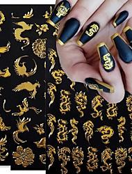 cheap -12pcs Self Adhesive Nail Art Stickers Laser Gold Dragon Colorful Phoenix Pattern 3D Nail Stickers Manicure Decals Nail Art Decoration