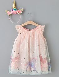 cheap -Kids Little Girls' Dress Graphic Unicorn Animal A Line Dress Birthday Ruffle Mesh Print Blushing Pink Midi Long Sleeve Princess Cute Dresses Fall Spring Regular Fit 3-10 Years
