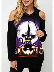 cheap -Women's Hoodie Sweatshirt Cat Pumpkin Print Halloween Sports Cotton Streetwear Halloween Hoodies Sweatshirts  Black