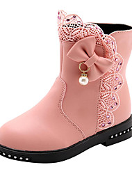 cheap -Girls' Boots Mid-Calf Boots PU Wedding Casual / Daily Fashion Boots Big Kids(7years +) Little Kids(4-7ys) Wedding Party Walking Shoes Bowknot Flower Wine Pink Black Fall Winter / Rubber